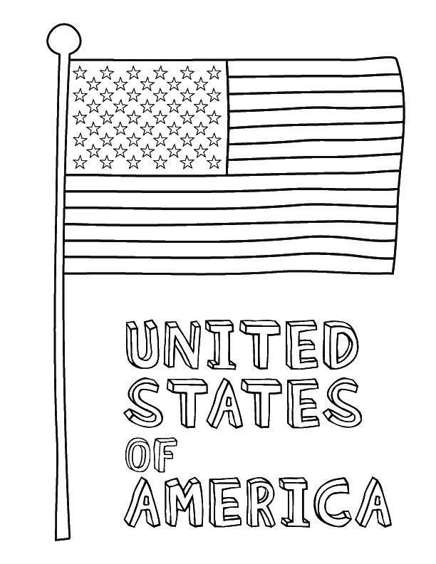 Раскраска Флаг соединенных штатов америки Скачать флаг, Америка, звезды.  Распечатать ,США,