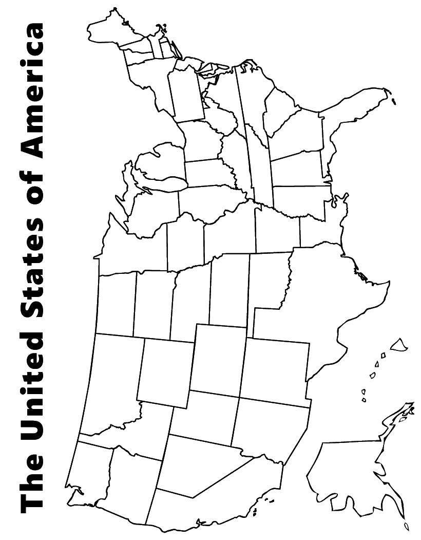 Раскраска Карта америки Скачать карта, Америка, США.  Распечатать ,США,