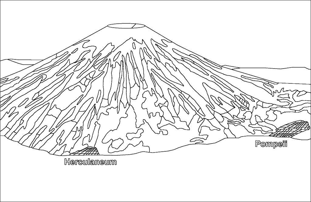 Раскраска Вулкан Скачать Эльфы.  Распечатать ,Фэнтези,
