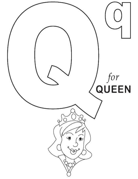 Раскраска К значит королева. Скачать Английский.  Распечатать ,Королева,