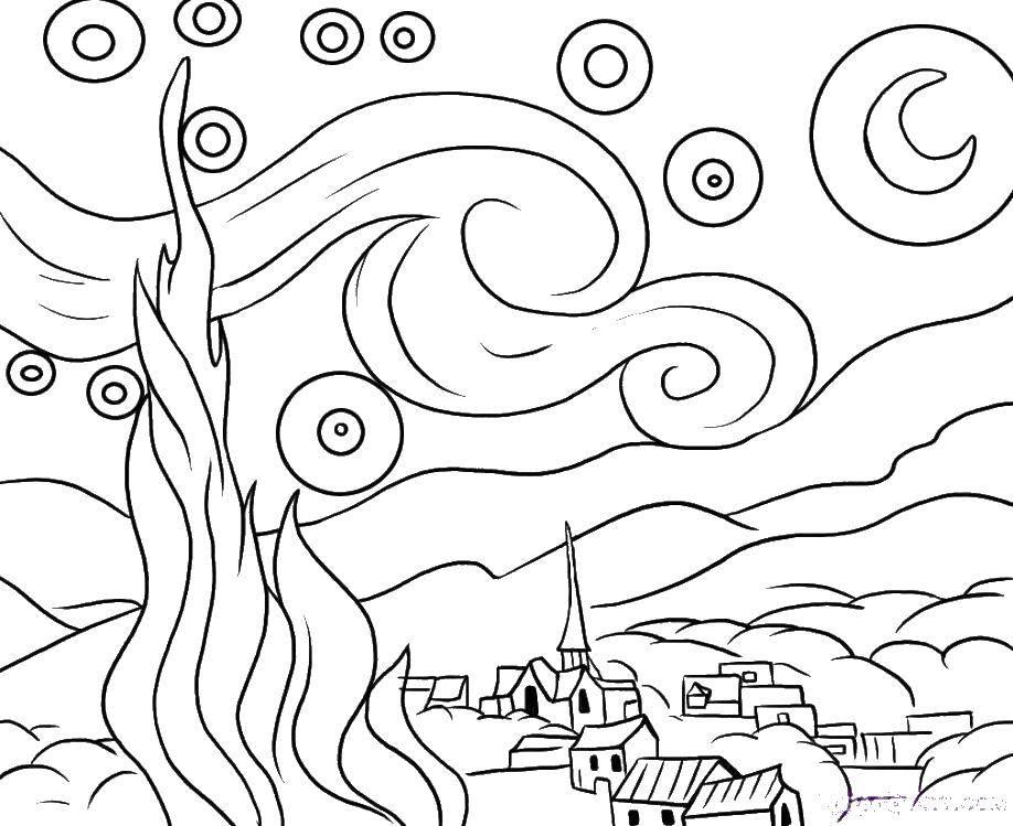 Раскраска Картина ван гога звездная ночт Скачать ,звездная ночь, картина, Ван Гог,.  Распечатать