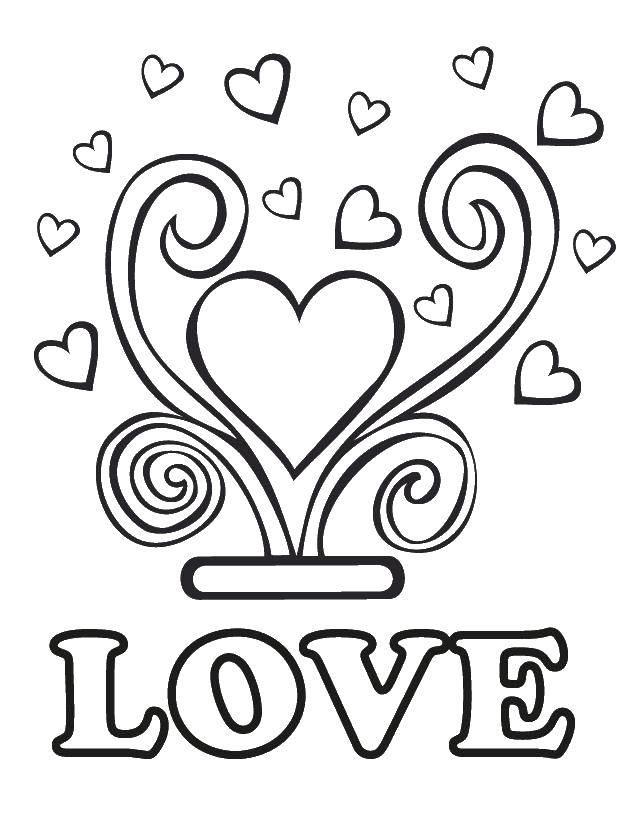 Раскраска Любовь и сердечки Скачать сердце, надпись.  Распечатать ,Свадьба,