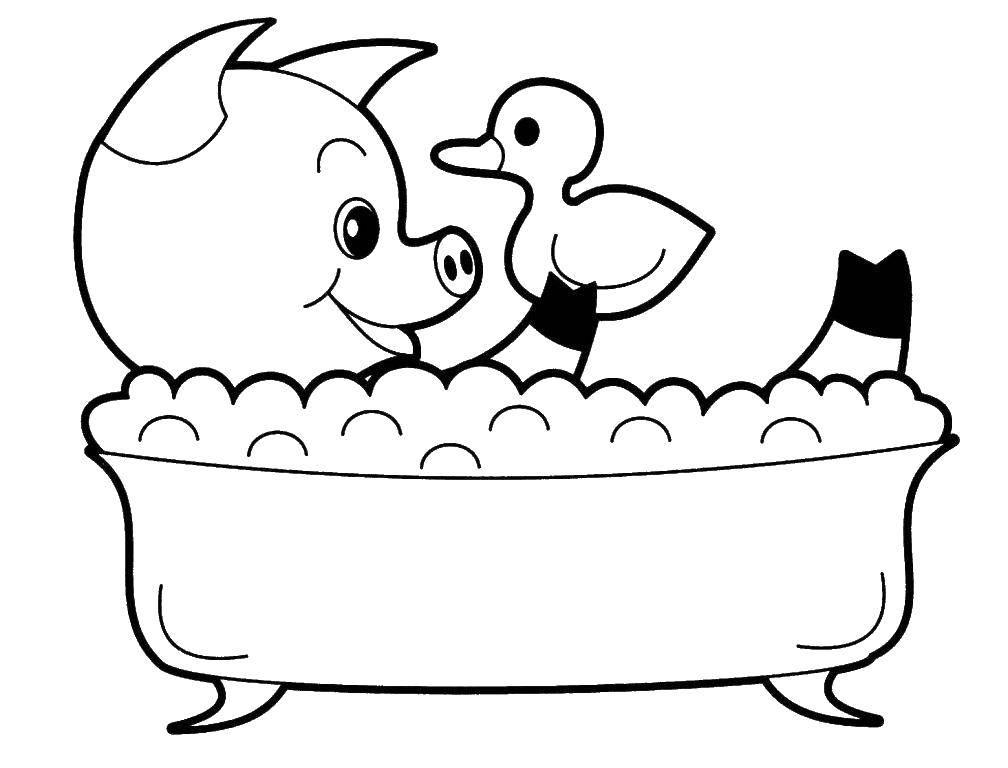 Раскраска Поросенок в ванной Скачать поросенок, ванна, утёнок.  Распечатать ,Ванная комната,