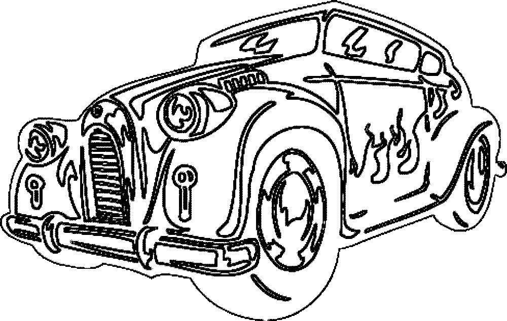 Раскраска Старый автомобиль в огне Скачать Транспорт, машина.  Распечатать ,Машины,