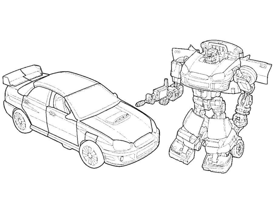 Раскраска Трансформер и машина Скачать трансформер, робот, машина.  Распечатать ,трансформеры,