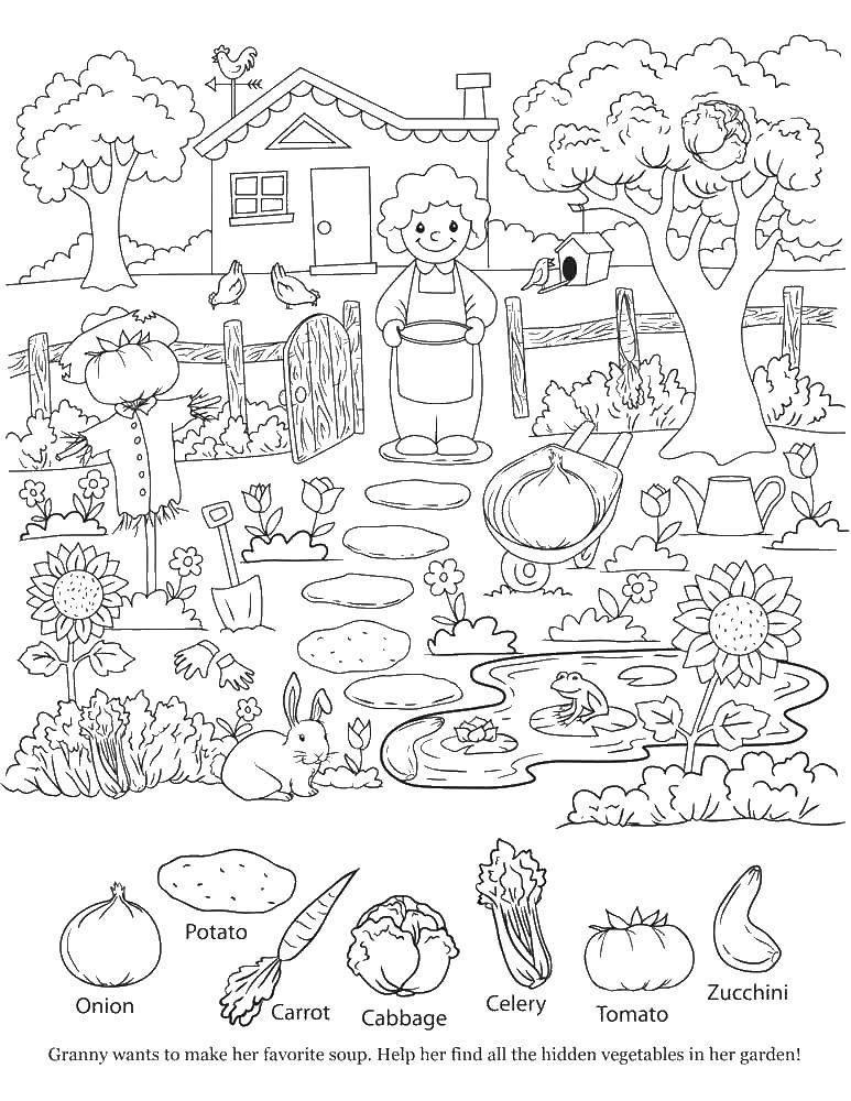 Раскраска домик в деревне Скачать ,домик, бабушка, огород, дерево,.  Распечатать