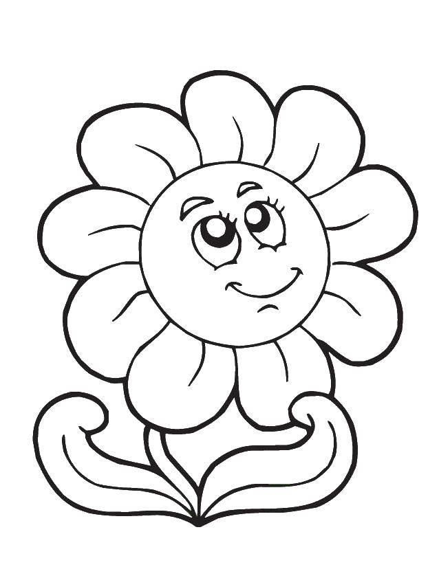 Название: Раскраска Цветочек смотрит вверх. Категория: Раскраски для малышей. Теги: Цветы.