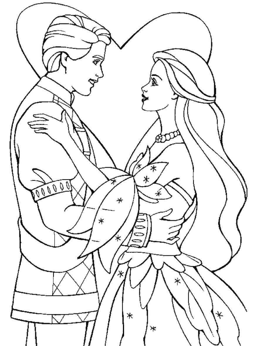 Раскраска Любовь у принца и принцессы Скачать принцесса, принц, любовь.  Распечатать ,Принцессы,