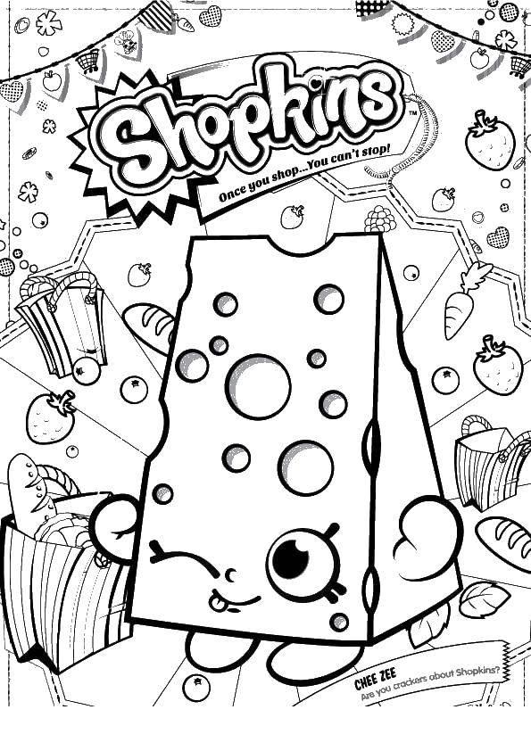 Раскраска Сыр шопкинс Скачать сладости, шопкинс, сыр.  Распечатать ,Еда,