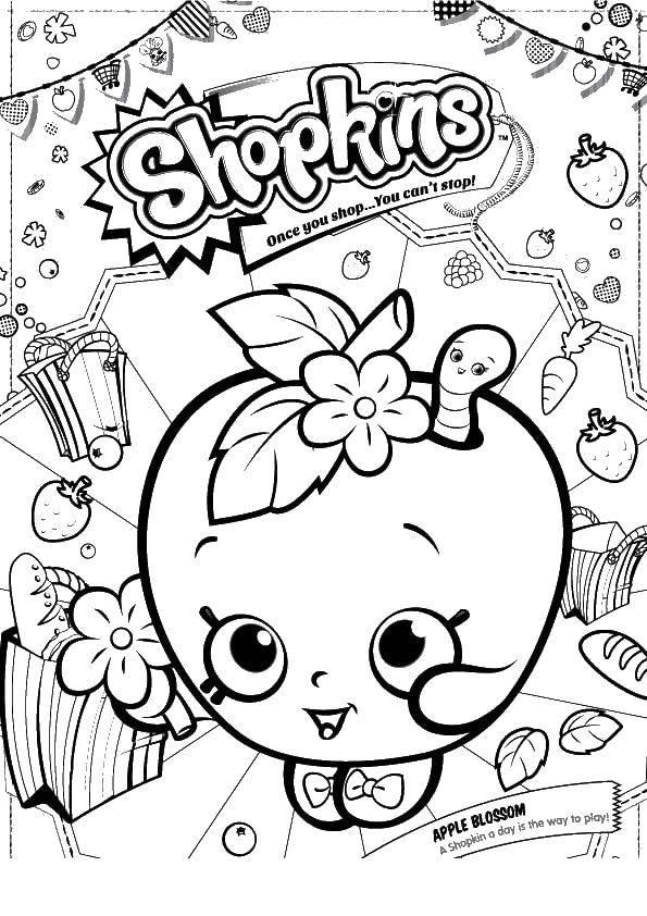 Раскраска Яблоко шопкинс Скачать сладости, шопкинс, яблоко.  Распечатать ,Еда,