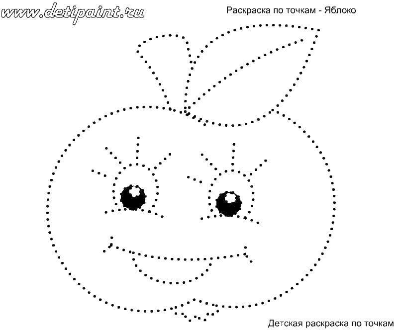 Раскраска Яблоко с глазами Скачать яблоко, глаза, точки.  Распечатать ,раскраски по точкам,