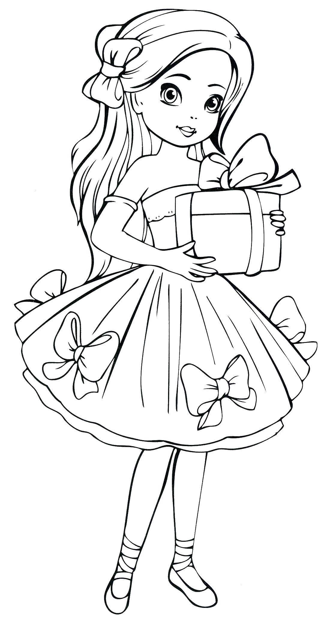 Раскраска Девочка и подарок Скачать ,девочка, платье, подарок,.  Распечатать