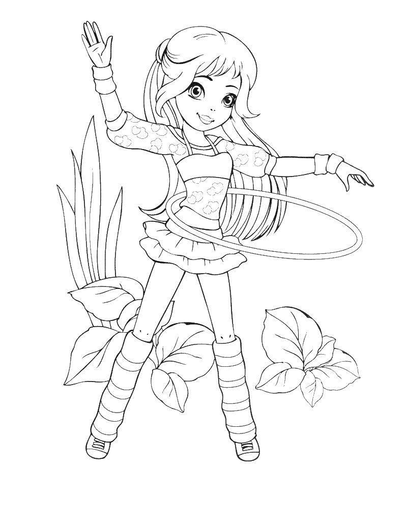 Раскраска Девочка с обручем Скачать девочка, обруч, цветы.  Распечатать ,для девочек,