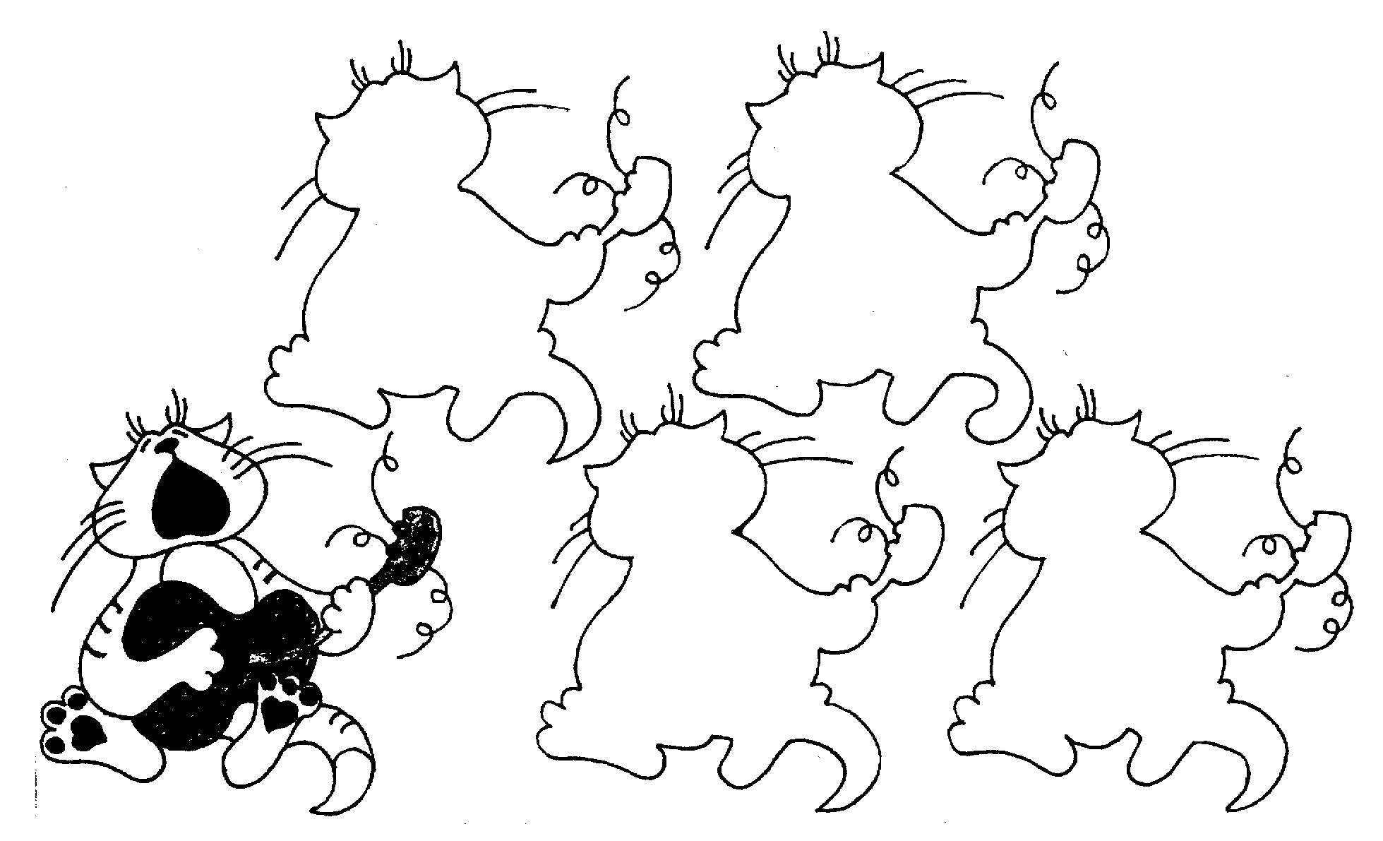 Раскраска Загадка котик играет на гитаре. Скачать загадки, котик.  Распечатать ,загадка,