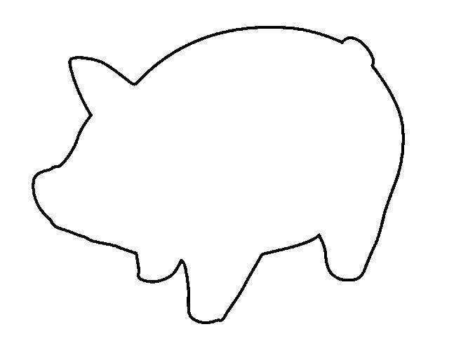 Раскраска Контур свинки. Скачать Контур.  Распечатать ,Контур свиньи для вырезания,