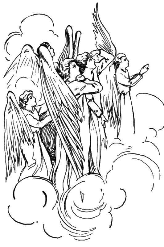 Раскраска Ангелы смотрят с неба Скачать ангелы, небо.  Распечатать ,Контуры ангела для вырезания,