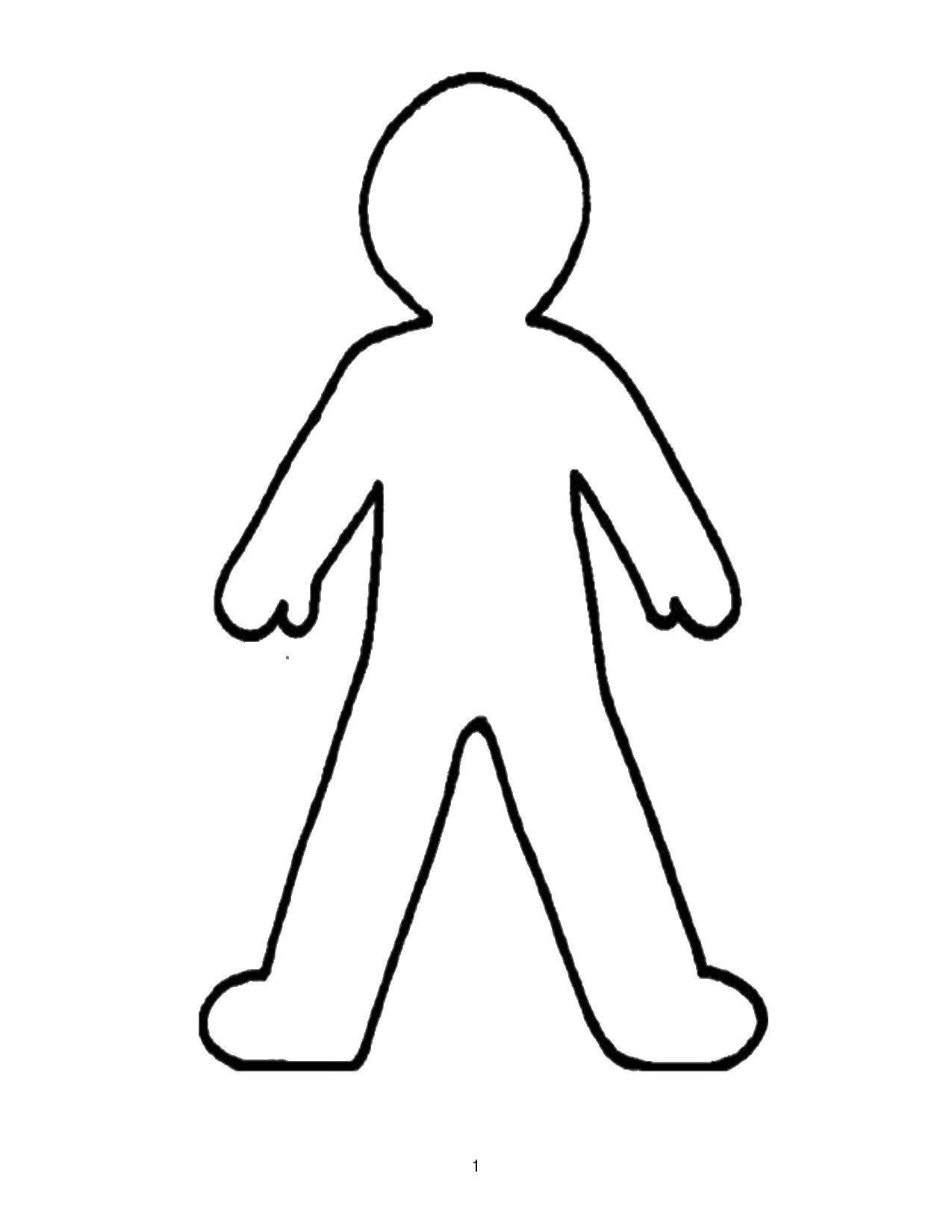 Раскраска Контур ребенка Скачать Контур, девочки.  Распечатать ,Контуры человека для вырезания,