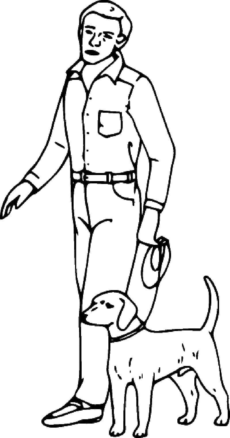 Раскраска Мужчина выгуливает собаку Скачать человек, собака.  Распечатать ,Контуры человека для вырезания,