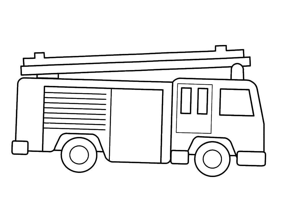 Раскраска Контур пожарной машины Скачать пожарная машина, лестница, пожарные.  Распечатать ,машины,