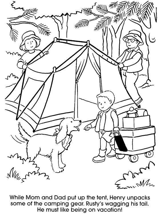Раскраска Поход с семьей Скачать отдых, природа, поход, семья.  Распечатать ,Отдых на природе,
