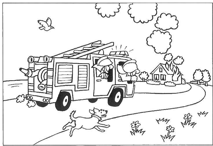 Раскраска Пожарная машина едит на выезд Скачать пожарная машина.  Распечатать ,Огонь,