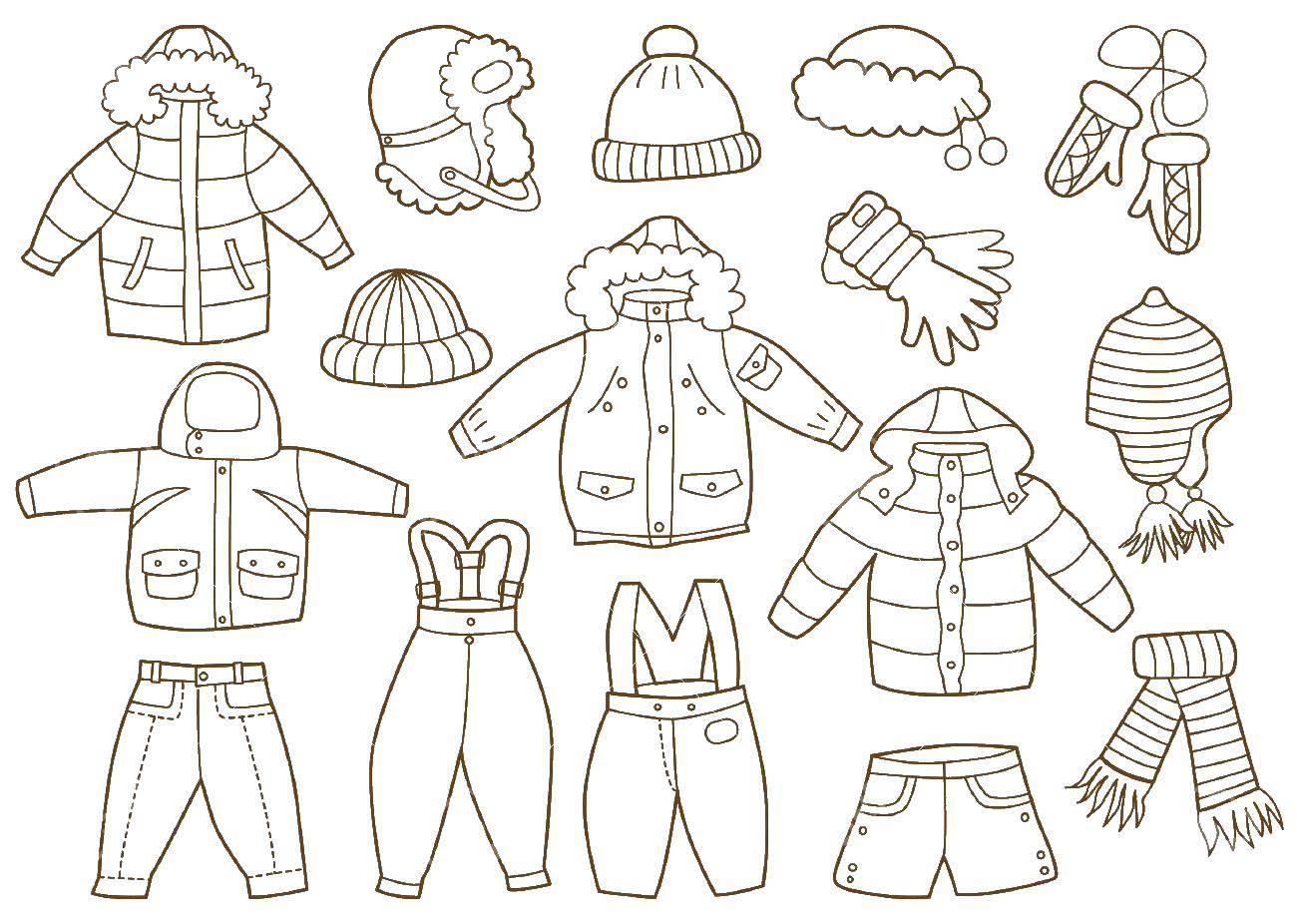 Раскраска Разнообразная одежда, перчатки, головные уборы Скачать одежда, перчатки, шапки.  Распечатать ,одежда,