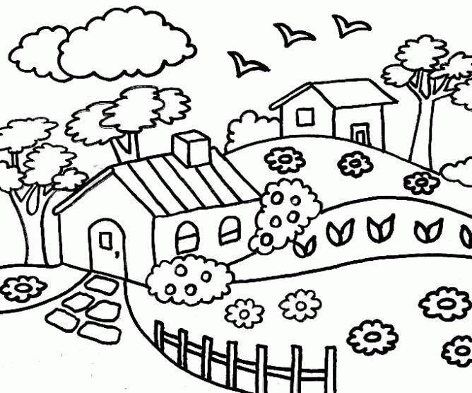 Раскраска Домики на лугу Скачать ,деревня, луг, природа,.  Распечатать