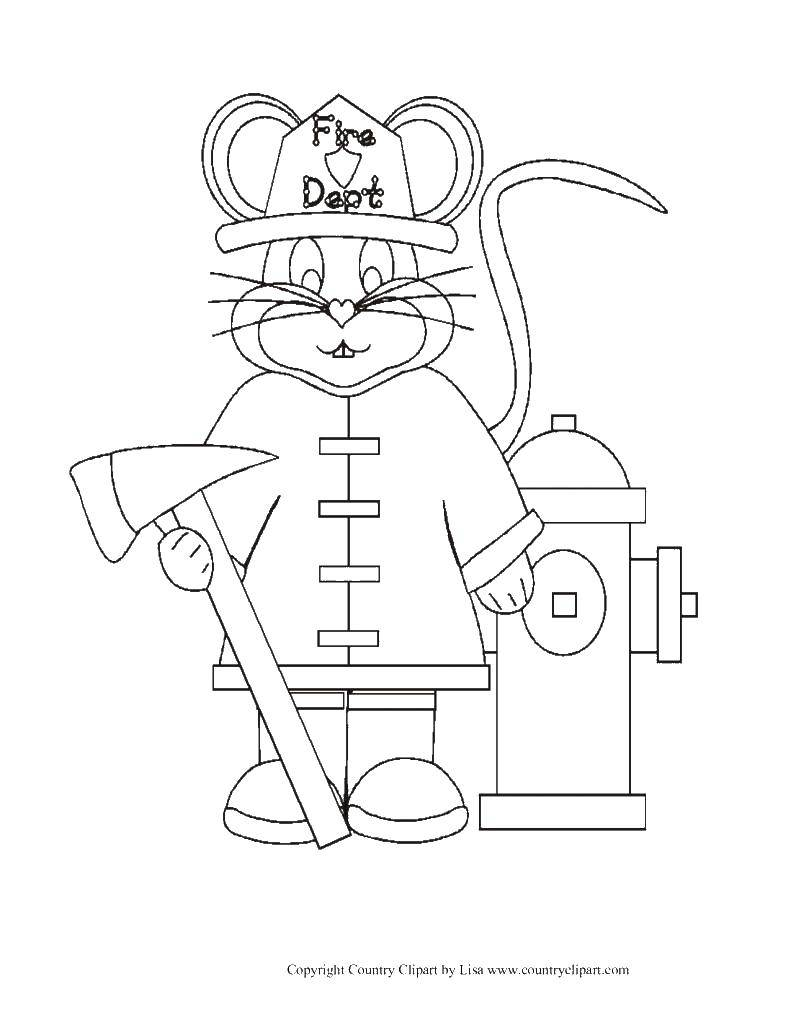 Раскраски пожар, Раскраска Пожарный мышонок Огонь.