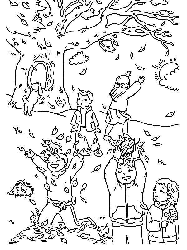 Раскраска Дети и листва Скачать осень, листва, дети.  Распечатать ,Осень,