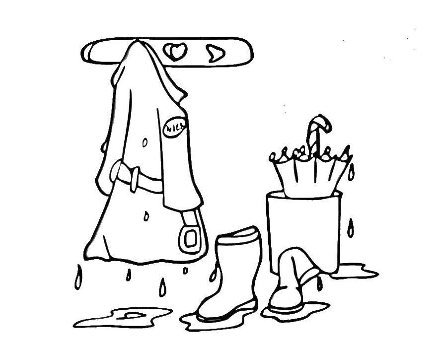 Раскраска Мокрая одежда после дождя в прихожей Скачать Одежда, дождь, пальто, сапоги, зонт, осень.  Распечатать ,одежда,