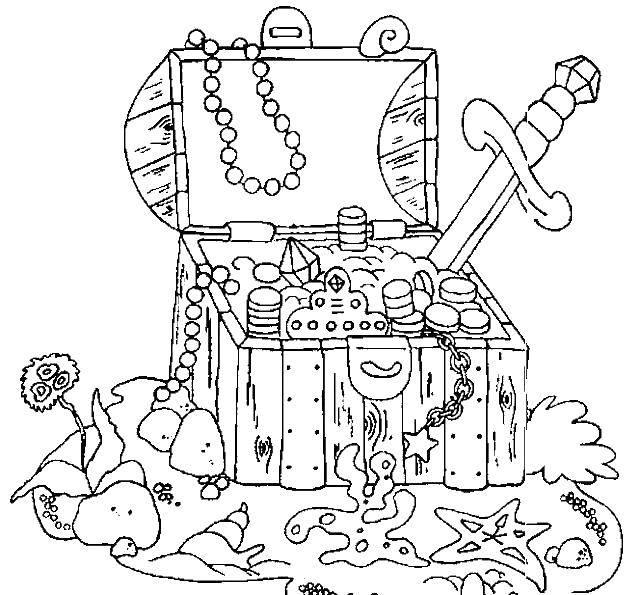 Раскраска Сундук с потонувшими сокровищями Скачать сундук, пираты.  Распечатать ,сундук с сокровищами,