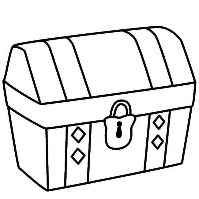 Раскраска Сундук с закрытым замком Скачать сундук, пираты.  Распечатать ,сундук с сокровищами,
