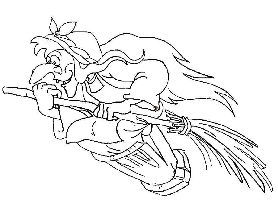 Раскраска Баба яга на метле. Скачать баба яга, метла, ведро.  Распечатать ,баба яга,