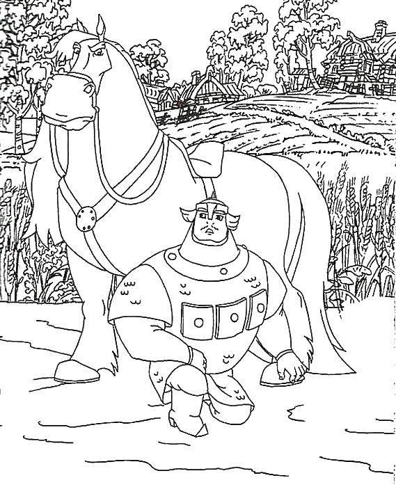 Раскраска Богатырь у коня Скачать три богатыря, сказки, конь.  Распечатать ,три богатыря,