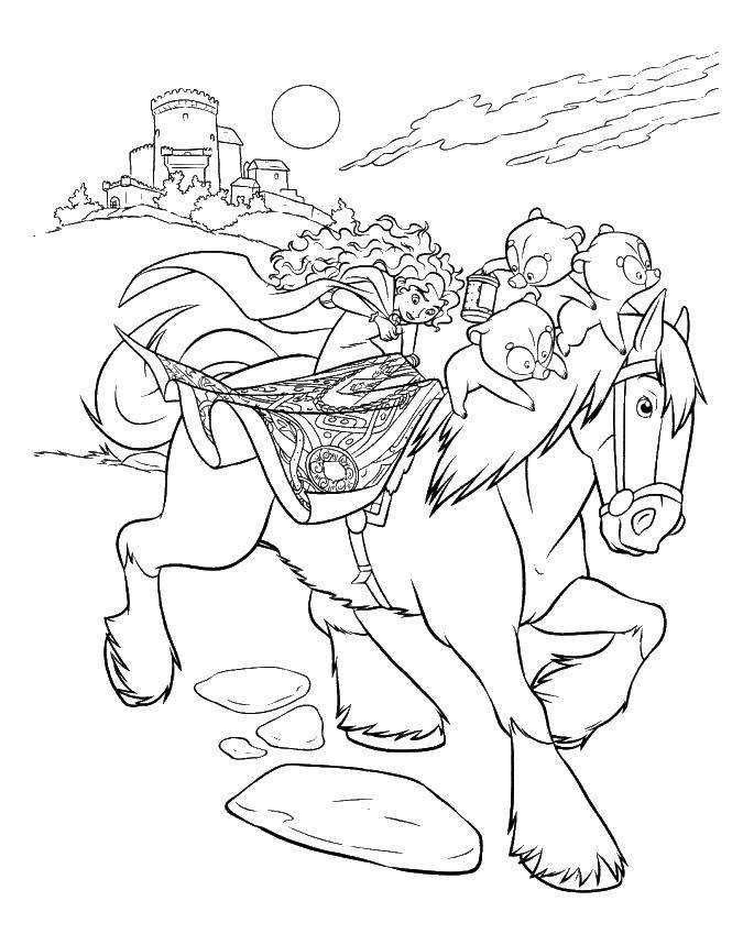 Раскраска Храбрая сердце с медвежатами на лошади Скачать Храбрая сердцем, мультфильмы, принцесса, медвежата.  Распечатать ,храбрая сердцем,