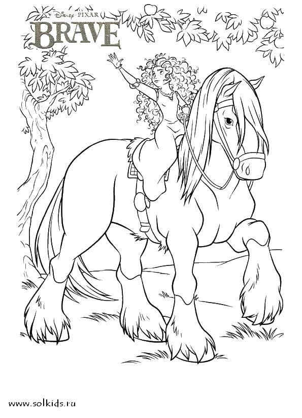 Раскраска Храбрая сердцем на лошади Скачать Храбрая сердцем, мультфильмы, принцесса, лошадь.  Распечатать ,храбрая сердцем,