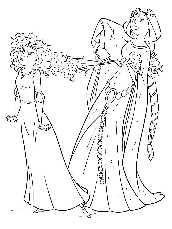 Раскраска Королева элинор и мерида Скачать мама, дочка, расческа, волосы.  Распечатать ,храбрая сердцем,