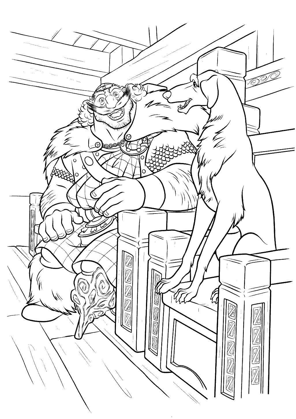 Раскраска Лорд макгаффин и собака Скачать мужчина, трон, собака.  Распечатать ,храбрая сердцем,