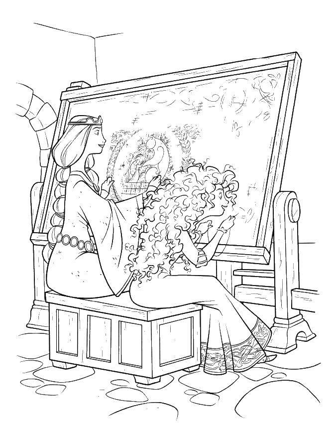 Раскраска Мама и принцесса вышивают Скачать Храбрая сердцем, мультфильмы, принцесса, мама.  Распечатать ,храбрая сердцем,