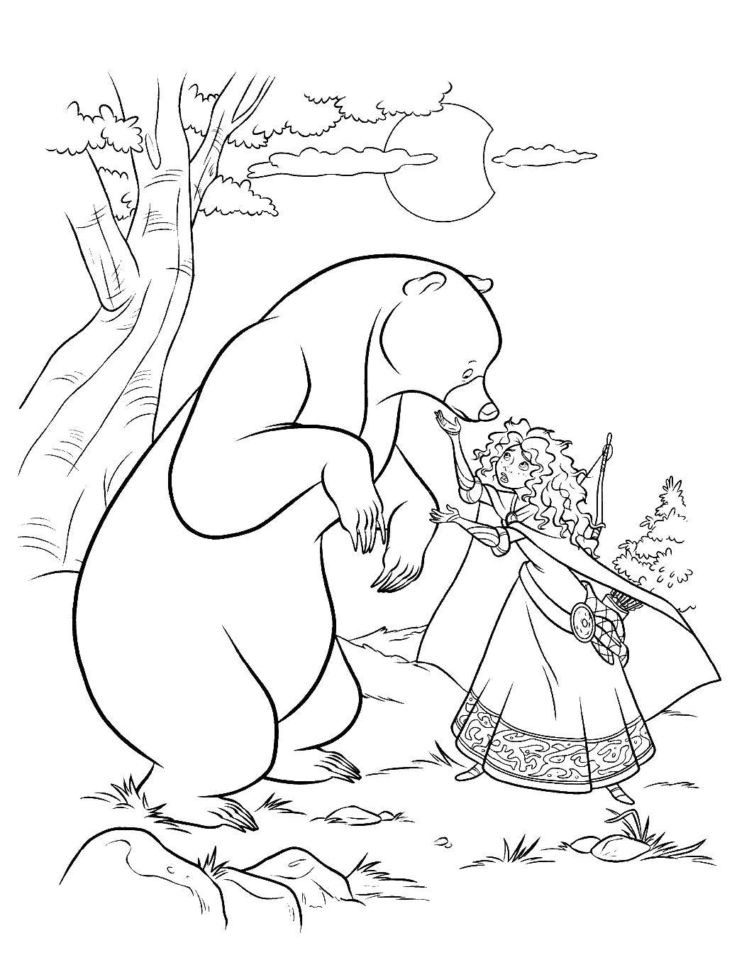 Раскраска Медведь и принцесска Скачать Храбрая сердцем, мультфильмы, принцесса, медведь.  Распечатать ,храбрая сердцем,