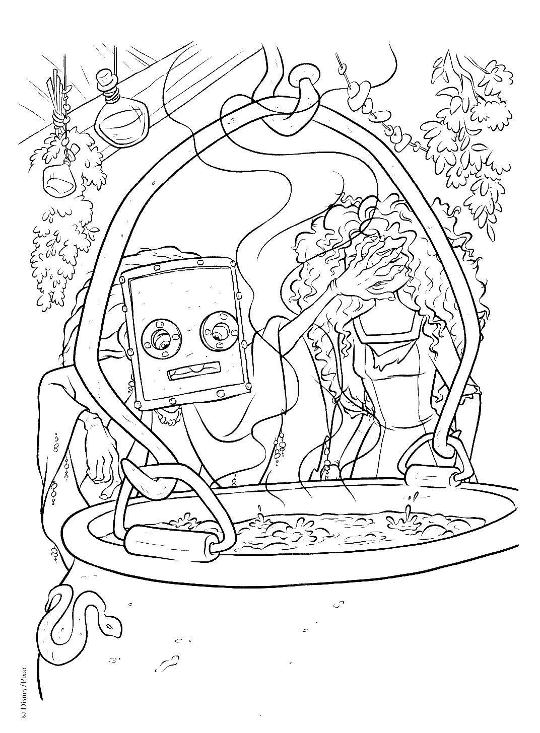 Раскраска Мерида и ведьма Скачать Мерида, котел, ведьма.  Распечатать ,храбрая сердцем,