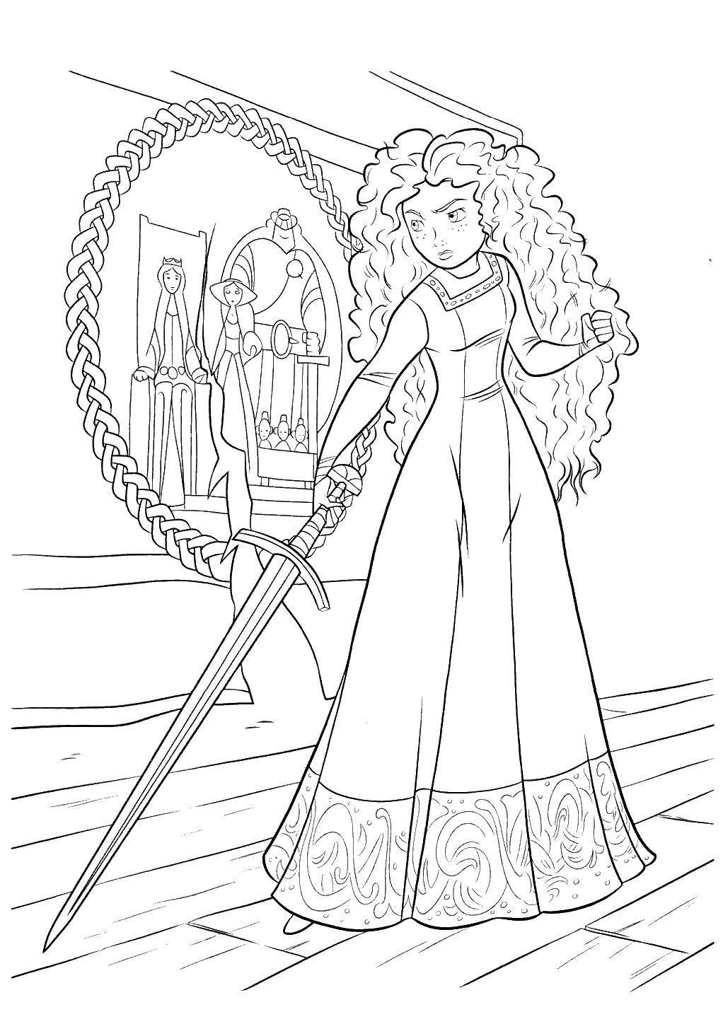 Раскраска Мерида с мечом Скачать Мерида, девочка, меч.  Распечатать ,храбрая сердцем,