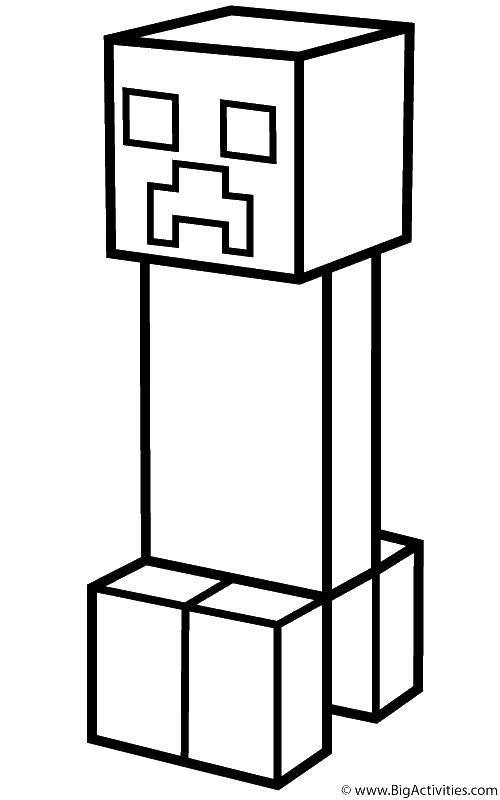 Раскраска Персонаж из майнкрафт Скачать Игры, Майнкрафт.  Распечатать ,майнкрафт,