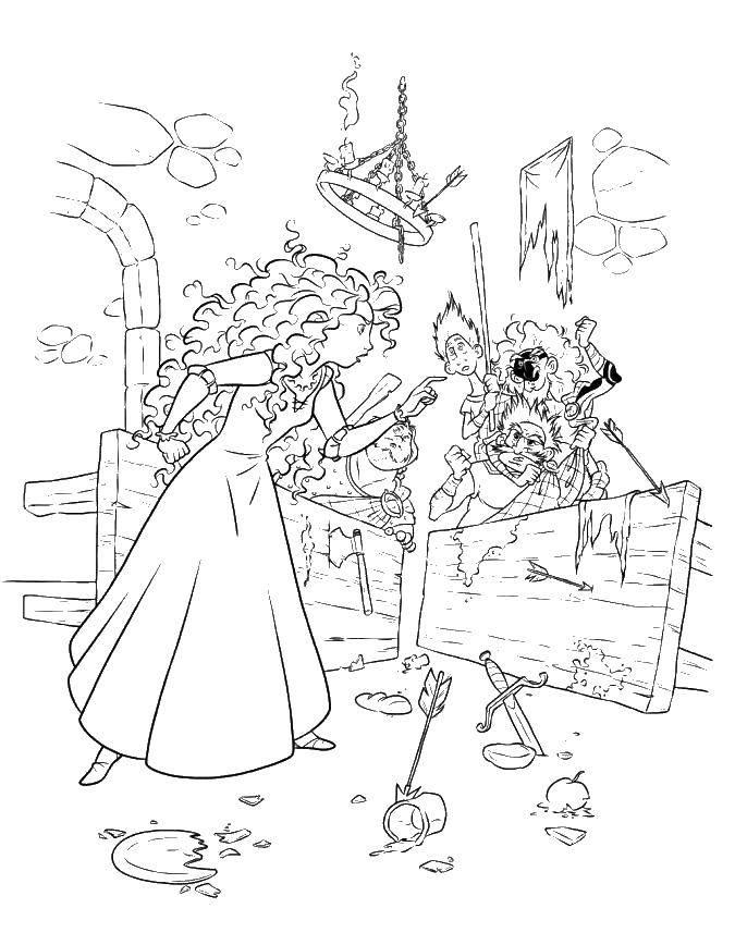 Раскраска Принцесса в замке Скачать Храбрая сердцем, мультфильмы, принцесса, замок.  Распечатать ,храбрая сердцем,