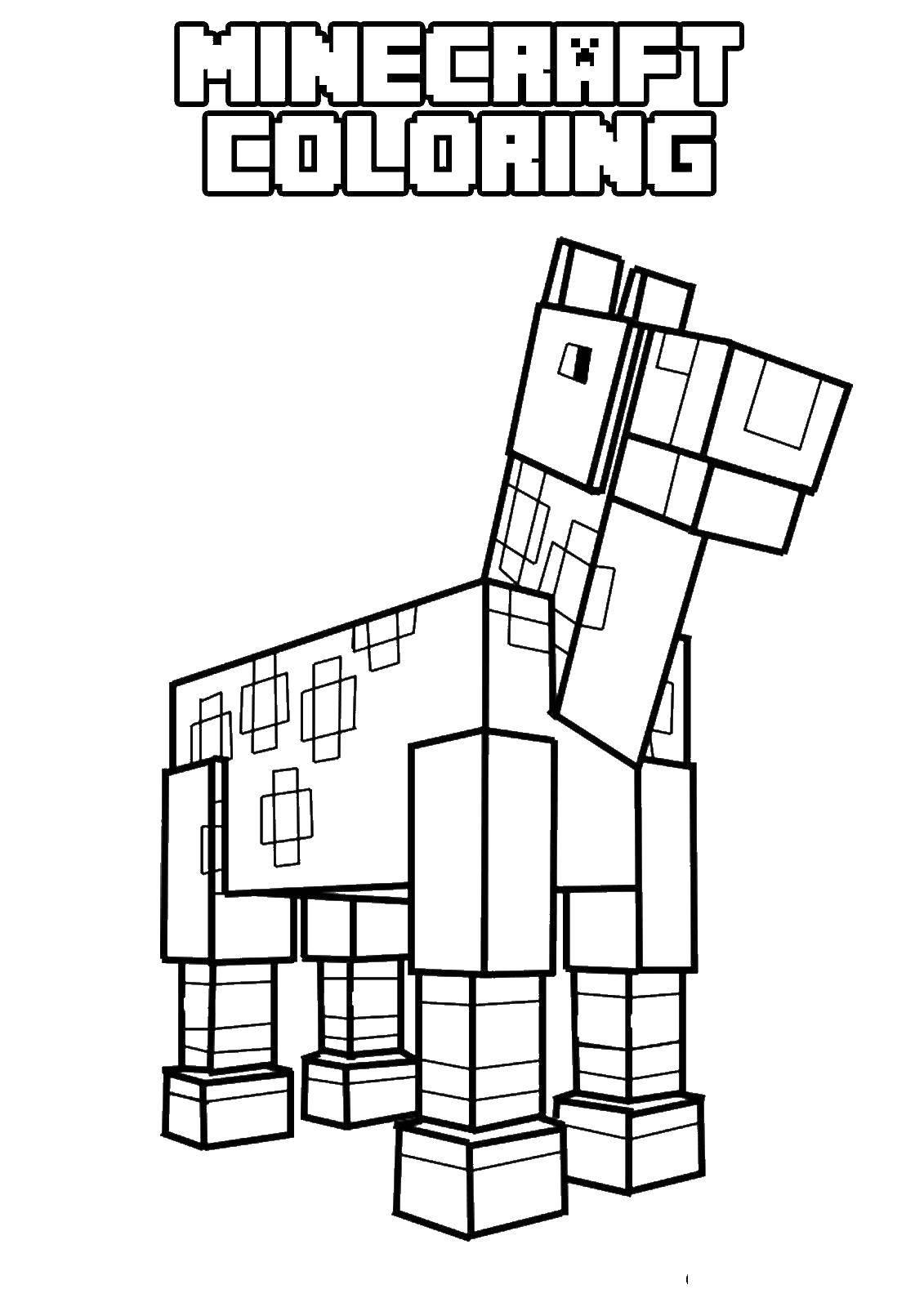 Раскраска Майнкрафт лошадь Скачать майнкрафт , лошадь.  Распечатать ,майнкрафт,