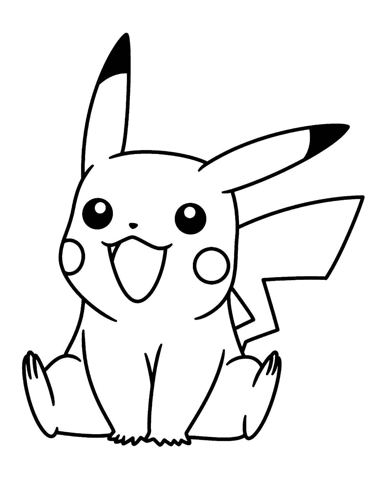 Раскраска Милый пикачу Скачать покемоны, мультфильмы, Пикачу.  Распечатать ,Покемоны,