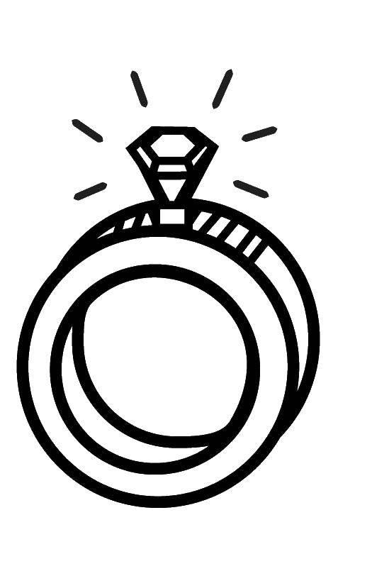 Раскраска Обручальные кольца с бриллиантом Скачать обручальные кольца, бриллиант.  Распечатать ,кольцо,