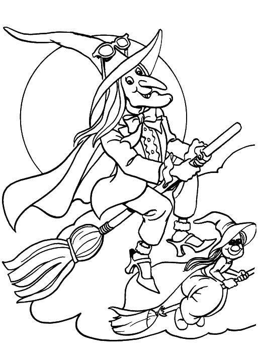 Раскраска Две ведьмы. Скачать ведьмы, метла.  Распечатать ,ведьма,