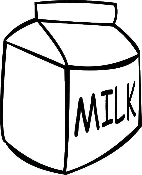 Раскраска Коробка молока. Скачать коробка молока, молоко.  Распечатать ,раскраски,