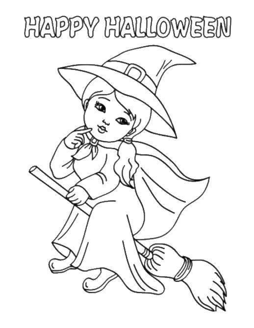 Раскраска Милая ведьма на метле. Скачать ведьмы, метла, Хэллоуин.  Распечатать ,ведьма,